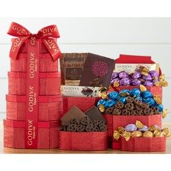 Godiva Red and Gold Holiday Chocolate Tower