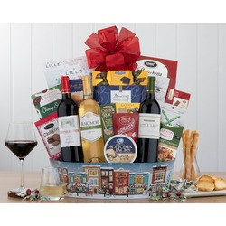 Holiday Red And White Wine Trio Gift Basket
