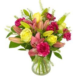 Lilies and Carnations (Vase not included)