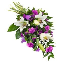 Funeral sheaf in purple and white colours