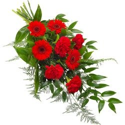 Funeral sheaf in red colours.