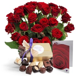 Giftset Red Roses (Vase not included)