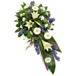 Funeral Spray in White and Purple