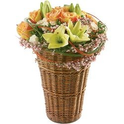 """Glowing"" Arrangement in the Basket"