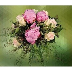 Arrangement of White Roses & Fuxia