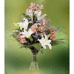 Sympathy Bouquet of Lilies and Astromeria