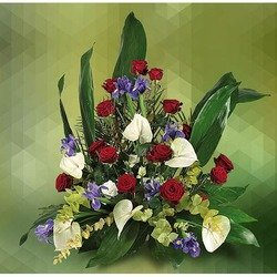Arrangement of Red Roses and White Anthurium