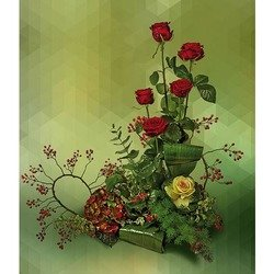 Arrangement of Roses, Brassica and Greenery