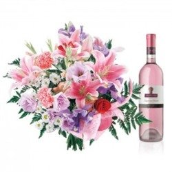 Name-day flowers with pink wine (Vase not included)