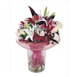 Bouquet of Mixed Cut Flowers in Pink & White (Vase not Included)