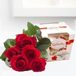 Bouquet of five red roses and Raffaello candies (Vase Not Included)