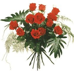 12 Red Roses with Green