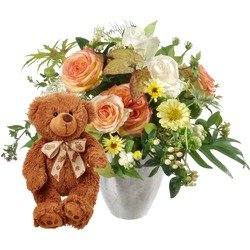 Delicate Seasonal Bouquet with teddy bear (brown) (Vase Not Included)