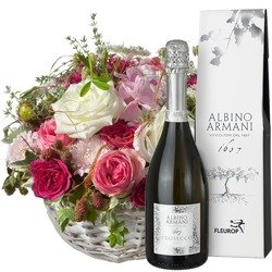 A Basket full of Poetry with Prosecco Albino Armani DOC (75cl) (Vase not included)