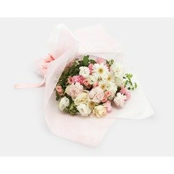 """Mother's Day"" White & Pink Hand-tied Bouquet"