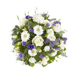 Funeral bouquet in white and purple