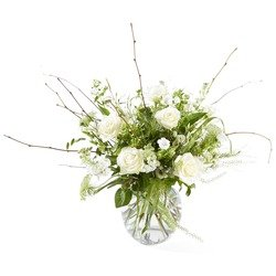 Farewell - White funeral bouquet - includes vase