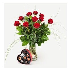 Red roses with chocolate filled metal heart (Vase not included)
