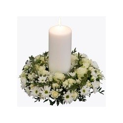 Funeral Wreath with a candle