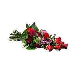 Horizontal bouquet in red shades (Vase Not Included)