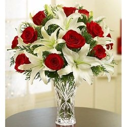 Arrangementof Red Roses and White Liliums in Vase