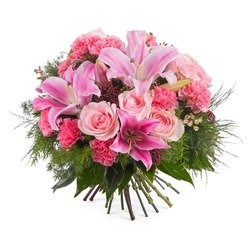 Mixed bouquet with roses and lilies (Vase Not Included)