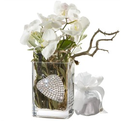 Orchid Design Incl. Key Ring With 112 Swarovski Crystals