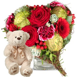 Only for You, with teddy bear (white)