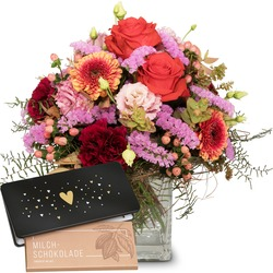 """Colorful Wishes with bar of chocolate """"Heart"""" (Vase not included)"""
