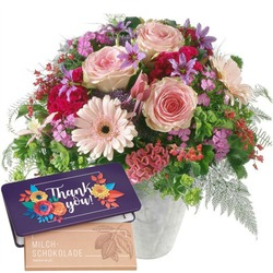 """Fairy Tale in Pink with bar of chocolate """"Thank you"""" (Vase not included)"""