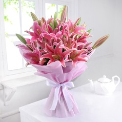 Bunch of 10 Pink Oriental Lilies in Tissue