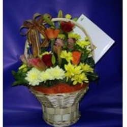 Arrangement of Cut Flowers in a Basket