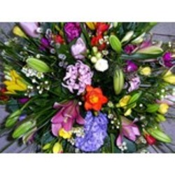 Bouquet of Mixed Cut Flowers in Yellow & Purple (Vase Not Included)