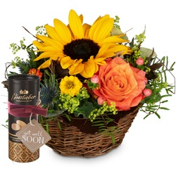 """Sunny Kiss with Gottlieber cocoa almonds and hanging gift tag """"Get Well Soon"""""""