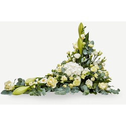 Funeral decoration with ribbon - creme