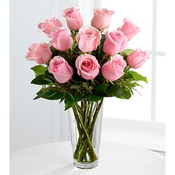 The Long Stem Pink Rose Bouquet - VASE INCLUDED!