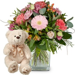 Sweet Romance with teddy bear (white)