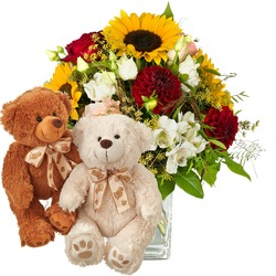 Summer Magic with two teddy bears (white & brown)