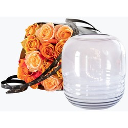 15 Golden roses with a vase