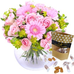 Hug for happiness, pink + Toffee (Vase not included)