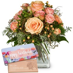 """Tender Winter Roses with Delicate Flowers with bar of chocolate """"Happy Birthday"""""""