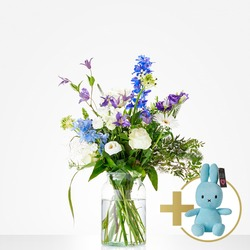 Combi Bouquet: Welcome little boy; including blue Niffy