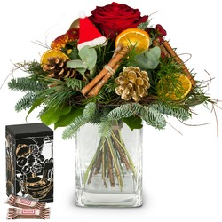 Santa Claus Bouquet with Minor Split in trendy gift tin