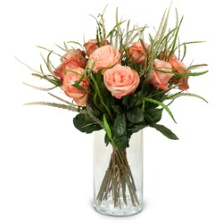 12 Salmon Colored Roses