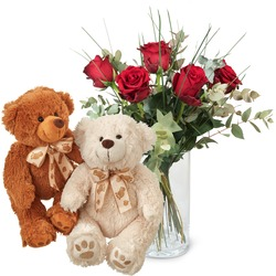 5 Red Roses with two teddy bears (white & brown)
