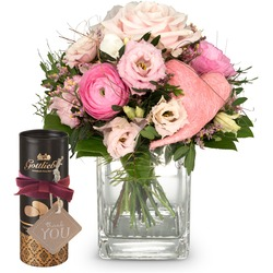 """Butterflies in your stomach (with heart) and Gottlieber cocoa almonds and hanging gift tag """"Thank Yo"""