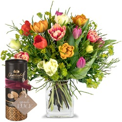 """Colorful Bouquet of Tulips with Gottlieber cocoa almonds and hanging gift tag """"Good Luck"""" (Vase not"""