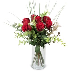 7 Red Roses with greenery (Vase not included)