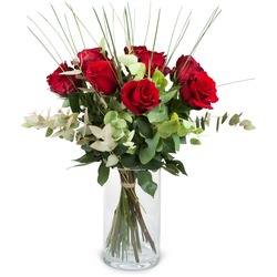 9 Red Roses with greenery (Vase not included)