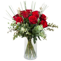 12 Red Roses with greenery (Vase not included)